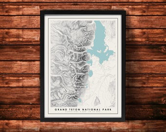 Grand Teton National Park Topographic Map Art Print | Grand Teton Print | Grand Teton Artwork | Topographic Art