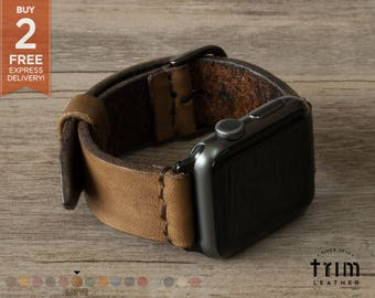 Apple Watch Band Leather Watch Band Minimal Latte Camel Brown 42mm 38mm Series 1 2 3 [Handmade] [Custom Colors]