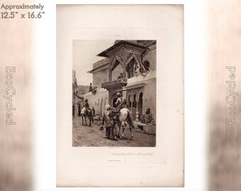 Cashmere Travelers in a Street in Delhi by EL Weeks Antique Photogravure Print Goupil Vintage Paper Ephemera ready to frame antique art zG15