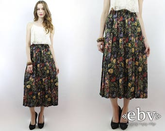Floral Midi Skirt Black Floral Skirt Pleated Skirt Black Skirt 90s Skirt Soft Grunge Skirt 1990s Skirt 90s Midi Skirt High Waisted Skirt S M