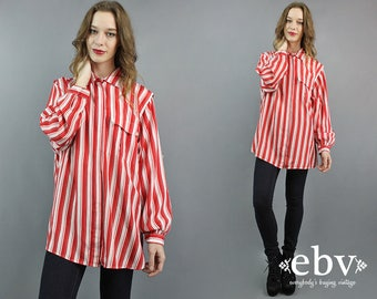Oversized Blouse Red Striped Blouse Plus Size Blouse Button Up Blouse Longsleeve Blouse Secretary Blouse Striped Shirt Plus Size Vintage 2X
