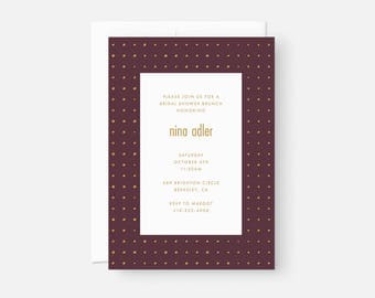 Minimalist Bridal Shower Invitation / Simple Modern Party Invite / Dotted Pattern / Muted Burgundy, Maroon, Purple / Engagement, Graduation