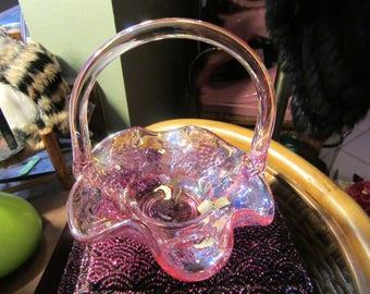 Vintage Fenton Pink Aurora Borealis Grape Ruffled Basket