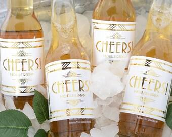 METALLIC FOIL Wedding Beer Bottle Labels - Gatsby Wedding Beer Labels - Wedding Stickers - Bottle Labels with Foil - Waterproof - #wblF-115
