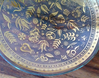 GEORGES BRIARD~Persian Gardens~Glass Bowl with 22K Gold~Signed~MCM