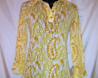 BIG HOLIDAY SALE-70s Vintage Mod Lace Print Blouse-Alan Rodin London West One-Biba Designer-Collectors-Man Tailored-Hipster Carnaby Street