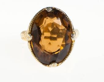 Vintage Smokey Crystal Statement Ring