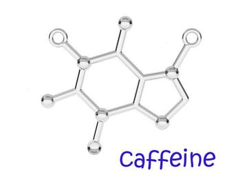 Sterling Silver Caffeine charm pendant, Silver 925, Molecule, Chemistry Science, Silver Necklace Connector - 1pc - F587