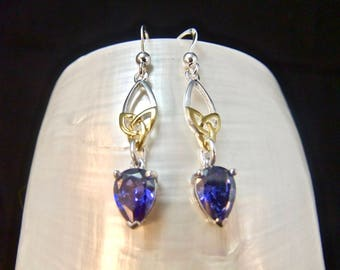 Celtic Tanzanite Sterling Silver Earrings