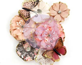 Prima Marketing Amelia Rose Flower Embellishment In Style~ Pen And Ink New Release In Stock Ready To Ship