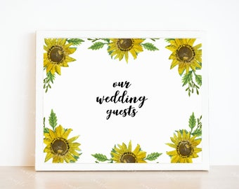 Alternative Guest Book, Alternative Sunflower Guest Book for Weddings, Guest Book Art Print, Sunflower Wedding Guests Print, Sunflower Print