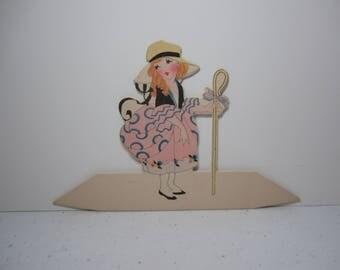 Sweet art deco 1920's-30's die cut unused Buzza Mother Goose nursery Rhyme Little Bo Peep place card