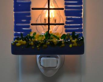 Blue Shutters With Flowerbox Fused Glass Night Light