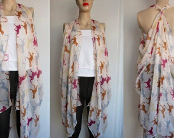 Swimsuit Cover Up Pareo Vest Cardigan Bathing Suit Cover Up Boho Dog Scarf wrap Animal Scarf Beach Sarong Wrap Cream Shawl Gift for Her Tops