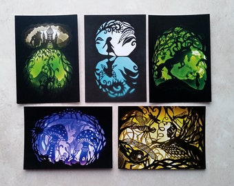 Fairytale Postcards - Set of five - Paper Cut Art - ECO-friendly and recycled