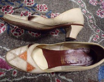 VINTAGE HEYDAYS leather PUMPS low heel 7.5 8