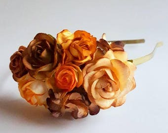 Autumn Fall Orange Brown Floral Headband Flower Fascinator Vintage Wedding Party Bridal Accessory Bridesmaid statement