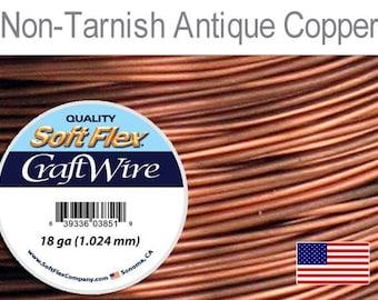 Supplies-18 Gauge Wire Round Antique Copper Craft Wire 7 Yards