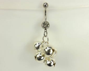 Bells Belly Ring navel ring with bells belly button jewelry body jewelry curved barbell navel ring bells body jewelry