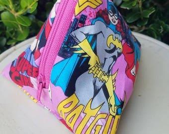 Super Girl and Batgirl Triangle Zipper Pouch