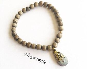 BOHO Luxe • Abalone Charm + Wood Bracelet