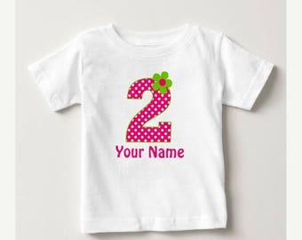 ON SALE Pink Girls Personalized Birthday Shirt - ANY Age or Name