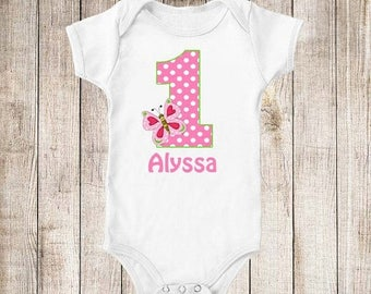 ON SALE 1st Birthday Pink Green Butterfly Personalized Birthday Shirt - ANY Age