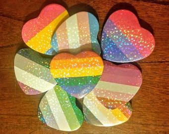 Pride Flag Shimmer Heart Button