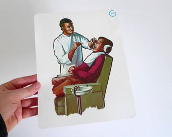 Large Vintage Flash Card of a Dentist - 1965 Peabody Language Development