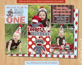 Sock Monkey birthday invitation sock monkey invitation sock monkey 1st birthday invitation sockmonkey Boy 1st birthday invitations photo pic