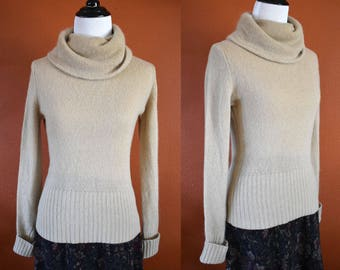 Lambswool and Angora Camel Turtleneck Sweater / Lambswool Sweater / Angora Sweater / Turtleneck Sweater / Camel Sweater / Vintage Sweater