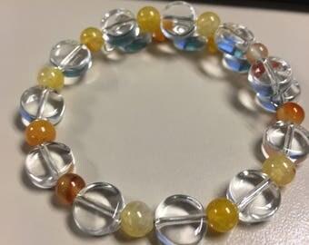 Orange and clear beaded bracelet - carnelian