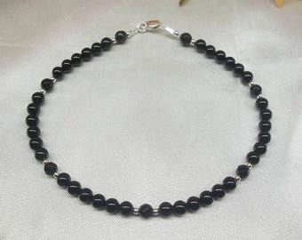 Black Onyx Anklet Black Anklet Handmade Jewelry Made in USA Sterling Silver Anklet Heart Anklet BuyAny3+Get1 Free