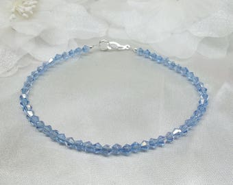 Periwinkle Anklet Something Blue Ankle Bracelet Tanzanite Anklet Blue Anklet Crystal Sapphire Anklet Sterling Silver Anklet Buy3+1Free