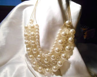 Four Strand Designer Signed C White Bead Bauble Choker Necklace