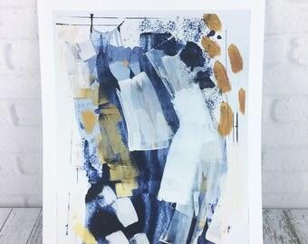 Blue and Gold Art Painting Print, Abstract Fine Art Wall Decor, Modern Art poster