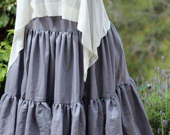 ON SALE Plus size Maxi skirt - Gypsy tiered skirt - Boho Bohemian skirt -  Summer skirt - Full Large Skirt - Gray skirt - Long skirt - Size