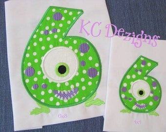 Silly Monster Number 6 Machine Applique Embroidery Design - Silly Monster Number, Monster Number, Monster Number Applique, Birthday Number