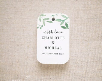 With Love Greenery Wedding Favor Tags, Personalized Gift Tags, Custom Wedding Favor Tags, Bridal Shower Tags - Set of 24 (Item code: J729)