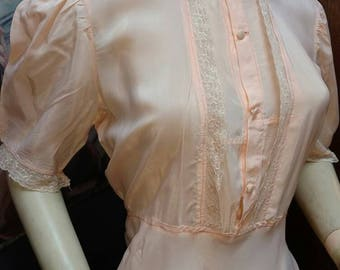 1930s Pale Peach Rayon Day Dress with Front Button-up Collar