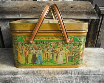 Vintage Chein Co. Tin Picnic Basket - Annual Company Outing - Victorian Litho