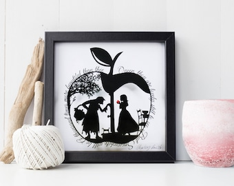 Snow White's Apple Papercut • Snow White • Fairytale Paper Cut Art • Wall Art • Hand Cut Art Quote