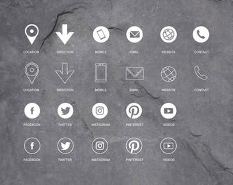 Social Media Icons - Graphic Icons, Vector Icons