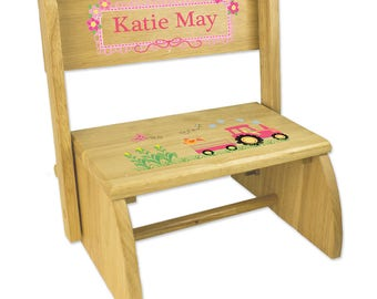 Personalized Natural Flip and Folding Step Stool with Pink Tractor Design-stoo-nat-211d