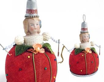 pin cushion doll, vintage pin cushion, mixed media assemblage, art doll ornament, original functional art by Elizabeth Rosen
