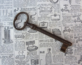 Long Antique Skeleton Key 5 Inch Rusted Metal Large Big Castle Dungeon Gate Jail Skeleton Key Authentic 1800s Gothic Goth Antique Key