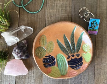 Southwestern hand-stamped, Ceramic dish, trinket dish, ceramic mini dish, Handmade pottery, small tray, Gifts under 30