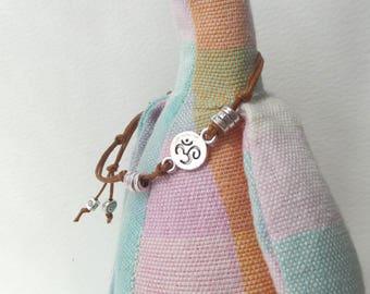 Yoga Symbol Bracelet, Cotton Cord casual bracelet, Silver Om Symbol Brown knotted adjustable bracelet
