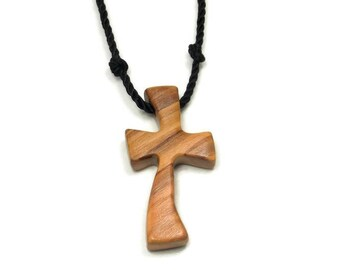 Holy Land Olive Wood, Bethlehem Olive Cross, Mens Cross Pendant Necklace, Mens Jewelry Cross, Simple Cross Pendant, Cross Necklace