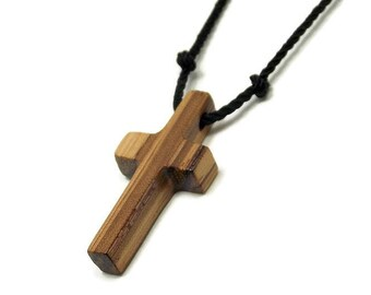 Men's Cross Necklace, Cross Pendant, Mens Jewelry Cross, Minimalist Cross Necklace, Wooden Cross, African Zebrawood, Gifts Under 20